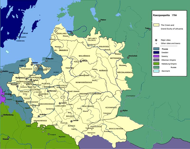 Карта Речи Посполитой в 1764 году