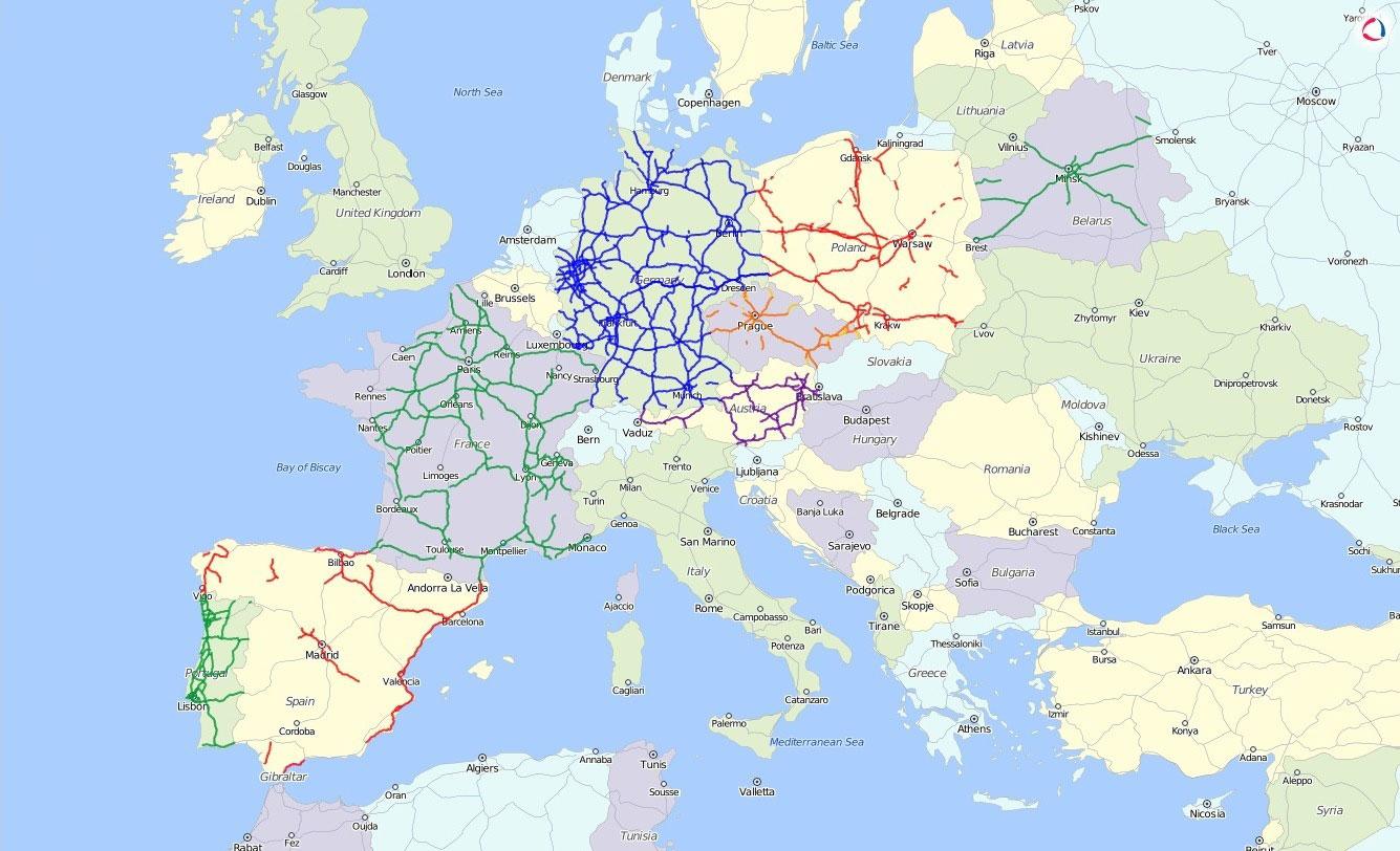 Карта платных дорог в Европе